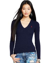 Polo Ralph Lauren - Blue Kimberly Wool-blend Cable Knit Jumper - Lyst