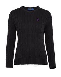 Polo Ralph Lauren | Black Polo Cable-knit Cotton Jumper | Lyst