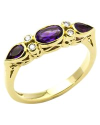 Turner & Leveridge - Metallic 18ct Yellow Gold Amethyst And Diamond Ring - Lyst