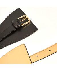 Karen Millen | Black Leather Wide Buckle Waist Belt | Lyst