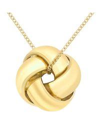Ib&b - Yellow 9ct Gold Knot Pendant - Lyst