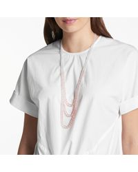 John Lewis - Pink Glass Crystal Long Layered Necklace - Lyst