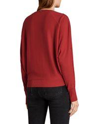 AllSaints - Red Elle Snap-detail Sweater - Lyst