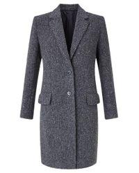 Jigsaw | Blue Single Breasted Herringbone City Coat | Lyst