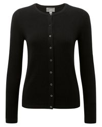Pure Collection | Black Crew Neck Cashmere Cardigan | Lyst
