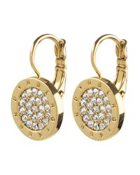 Dyrberg/Kern - Metallic Avelon Swarovski Crystal Round French Hook Logo Drop Earrings - Lyst
