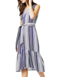 Warehouse - Blue Stripe Wrap Dress - Lyst