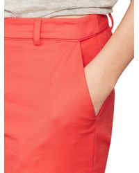 John Lewis - Red Mint Velvet Stretch Cotton Cropped Trousers - Lyst