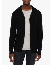 AllSaints - Black Wells Textured Hoodie for Men - Lyst