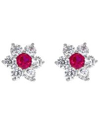 Ib&b - Pink 9ct White Gold Flower Cluster Stud Earrings - Lyst