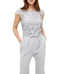 Phase Eight - Gray Nieve Lace Bodice Jumpsuit - Lyst
