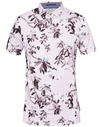 Ted Baker - Pink Scruff Floral Print Polo Shirt for Men - Lyst
