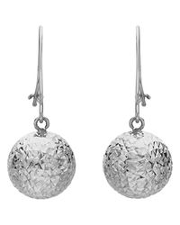 Ib&b | Metallic 9ct White Gold Ball Diamond-cut Drop Earrings | Lyst
