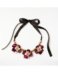 John Lewis | Black Gemstones Abstract Flower Glass Necklace | Lyst