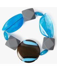 One Button | Blue Statement Bead Stretch Bracelet | Lyst