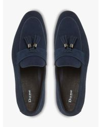 Dune Blue Navy 'passengers' Tassel Trim Suede Loafers for men