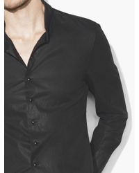 John Varvatos - Black Coated Stand-collar Shirt for Men - Lyst