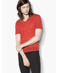 John Varvatos | Red Linen Jersey Knit V-neck for Men | Lyst