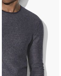 John Varvatos - Blue Jacquard Crewneck Sweater for Men - Lyst