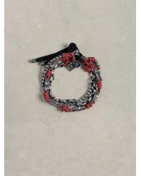 John Varvatos - Red Leather & Silver Mix Bracelet for Men - Lyst