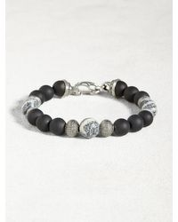 John Varvatos | Gray Onyx Bead Bracelet With Coral & Sterling Silver for Men | Lyst