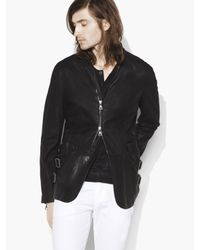 John Varvatos | Black Zip Front Burnished Suede Jacket for Men | Lyst