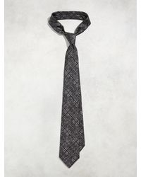 John Varvatos - Gray Classic Contrast Check Tie for Men - Lyst