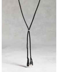 John Varvatos | Black Woven Leather Bolo Necklace With Silver Tips for Men | Lyst