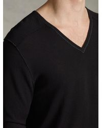 John Varvatos - Black V-neck Sweater for Men - Lyst