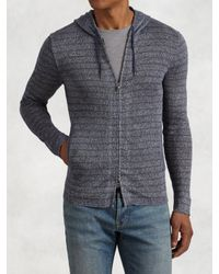 John Varvatos | Gray Striped Zip Hoodie for Men | Lyst