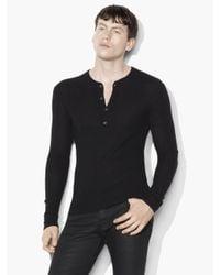 John Varvatos | Black Silk Cashmere Waffle Knit Henley for Men | Lyst