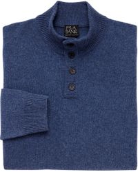 Jos. A. Bank | Blue Executive Collection Lambswool 4-button Mock Neck Sweater for Men | Lyst