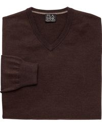 Jos. A. Bank - Brown Traveler Collection Merino Wool V-neck Sweater - Big & Tall for Men - Lyst