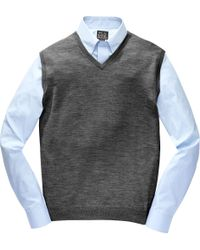 Jos. A. Bank - Gray Traveler Collection Merino Wool Sweater Vest - Big & Tall Clearance for Men - Lyst