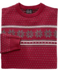 Jos. A. Bank - Red Executive Collection Cotton Crewneck Sweater for Men - Lyst