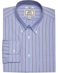 Jos. A. Bank - Blue 1905 Collection Slim Fit Button-down Collar Wide Stripe Dress Shirt for Men - Lyst