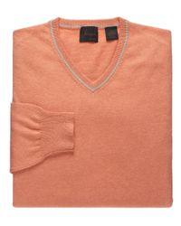 Jos. A. Bank - Orange Joseph Cotton Cashmere V-neck Sweater Clearance for Men - Lyst