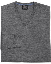 Jos. A. Bank - Gray Traveler Collection Merino Wool V-neck Sweater - Big & Tall for Men - Lyst