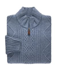 Jos. A. Bank - Blue Executive Collection Lambswool Quarter-zip Cable Sweater for Men - Lyst