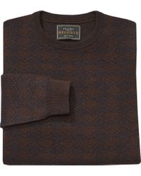 Jos. A. Bank Brown Reserve Collection Shadow Crewneck Sweater - Big & Tall Clearance for men