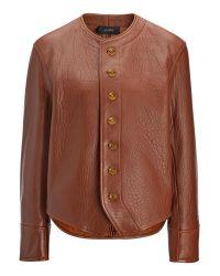 JOSEPH | Brown Bubble Leather Orlan Jacket | Lyst