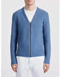 JOSEPH - Blue Boiled Knit Zip Cardigan for Men - Lyst