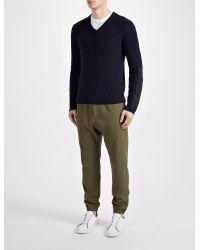 JOSEPH - Blue Military Cashmere V Neck Sweater for Men - Lyst