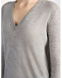 JOSEPH - Gray Cashair V Neck Top - Lyst