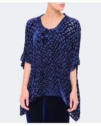Grizas - Blue Geometric Devore Flounce Blouse - Lyst