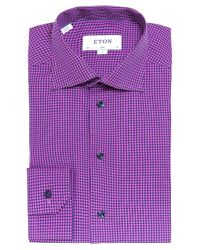 Eton of Sweden | Pink Slim Fit Micro Check Shirt for Men | Lyst