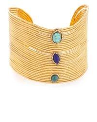 Gas Bijoux - Metallic Wave Cabochon Cuff Bracelet - Lyst