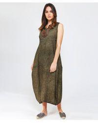 Grizas - Green Washed Linen Midi Dress - Lyst