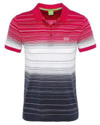BOSS Green - Gray Paddy Stripe Polo Shirt for Men - Lyst