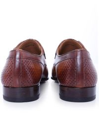 Magnanni Shoes | Brown Perforated Leather Monk Strap Shoes for Men | Lyst